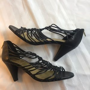 J. Crew leather strappy heel with zip back Sz 8